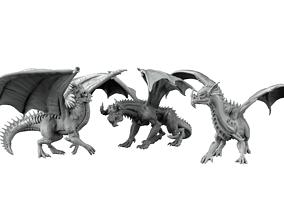 3D print model 3 dragons