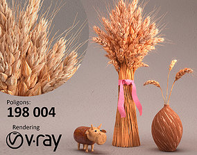Composition with wheat 3D model