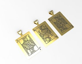3D print model playing card pendants King Queen