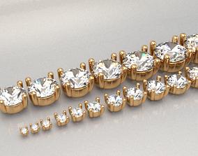 3D print model ring head set of 19pcs all sizes round 1