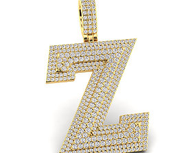 Custom 3D Initial Z Letter Pendant