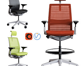 3D PBR Steelcase - Office Chair Think