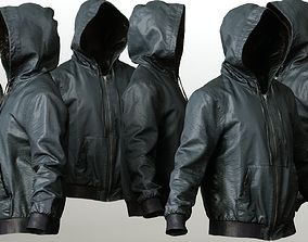 Mens Clothing Leather Jacket Hoodie 3D asset