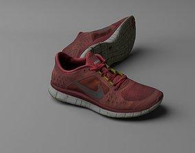 low-poly Worn Nike Free Run 3 sneaker shoe low poly 3D