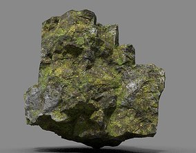 3D asset Low poly Sharp Rock Mossy 09 191219