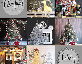 3D model Big set of Christmas and New Year decorations - 1