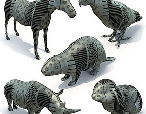 3D 5 animal sculptures 01