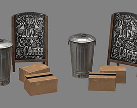 trash can box and advertisement 3D asset VR / AR ready