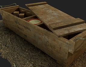 3D asset British army wooden grenade crate WW1 and WW2