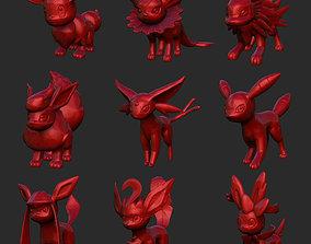 Eevee Evolutions Pokemon 3D Model STL File 3D Print