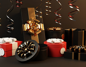 3D model Gift box set of 18 with 16 twirly decorations 2