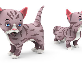 Cartoon Cute Pet Kitten Rigged 3D asset