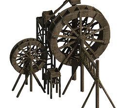 3D Countryside Riverside Building - Waterwheel