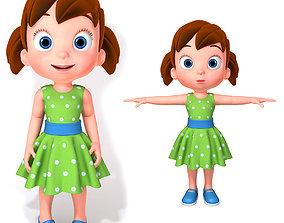 3D model Cartoon Little Girl Rigged