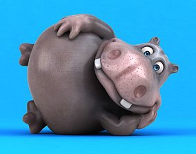 3D model animated Fun cartoon HIPPO