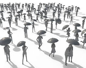 Low Poly Posed People Pack 11 - Umbrella 3D asset