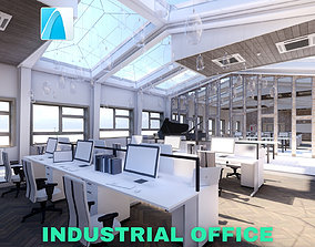 3D model Industrial Office on Attic with Skylights Scene 2