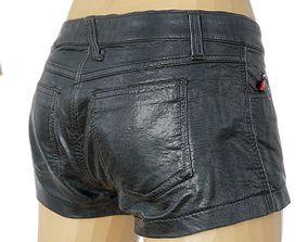 3D asset Shorts Black Leather Women Clothing