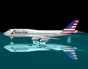 3D model American Airlines New Logo 747 - 400