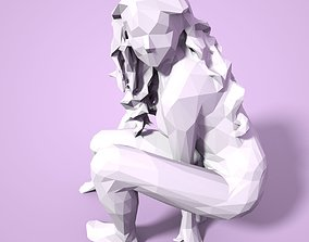 Girl Low poly Sculpture lady facet 3D print model