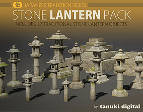 3D asset Stone Lantern Pack