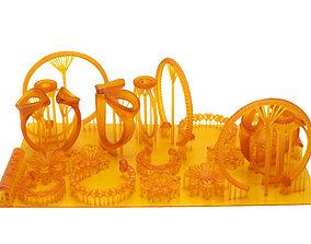 golden ring earring pendant total 11 styles 3D print model