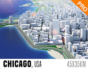 3D asset Chicago City And Surroundings USA Low Poly VR