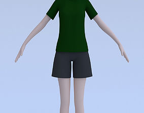 Anime girl in casual clothes 3D