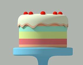 Cake 3D model food anniversary