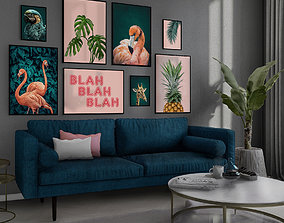 animated Tropical Living Room 3D model