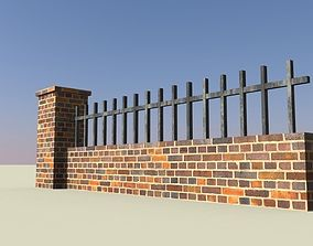 brick wall with railing 3D asset