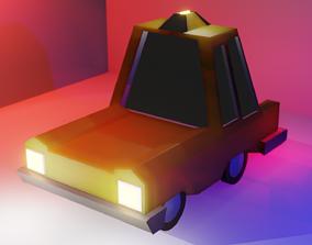 3D asset Low Poly Taxi