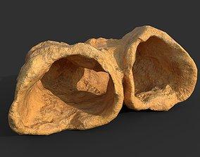3D asset Low poly Cave Modular Yellow Rock Casual12M
