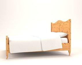 pine-furniture rustic bed 3D model