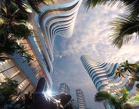 3D Skyscraper Business Center center