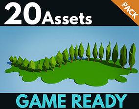 Cypress bushes 3D asset