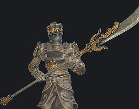 Fantasy knight with halberd 3D asset
