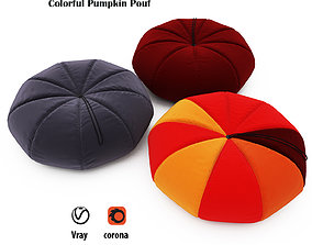 3D Colorful Pumpkin Pouf