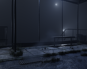 3D asset atmospheric bus stop scene