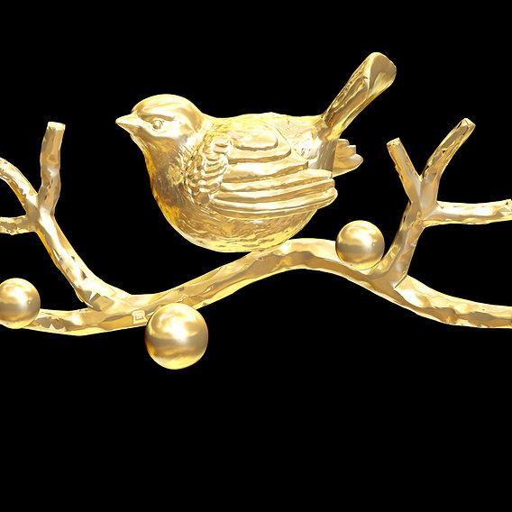 Sparrow on branch Sculpture pendant jewelry gold necklace 3D print model