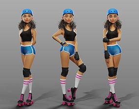 3D model Cartoon female character roller-skater Jenny