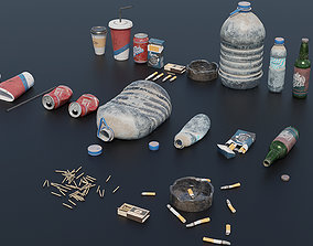 Trash Set PBR Game Ready 3D model