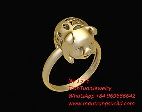 3D printable model 1576 Lucky Gold Pig Ring