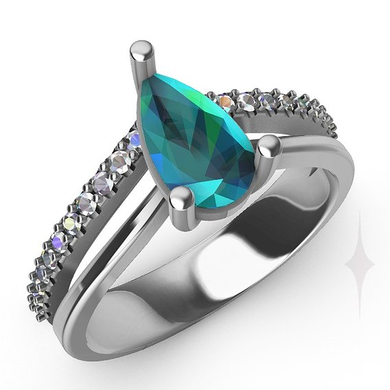 Ring acqua marine