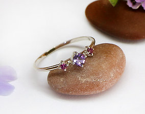 A thin miniature ring with 3 stones - Digital files for