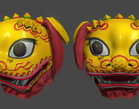 Chinese Lion Dance Head Mask 3D model