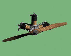 Vintage aircraft engine 1910 3D