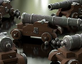 pirate infantry Cannon 3D model game-ready