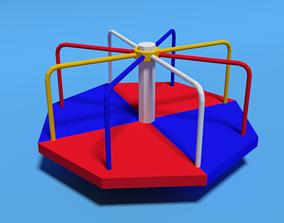 3D asset Low Poly Cartoon Playground Roundabout