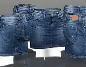 Jeans Mini Skirt Worn 3D asset